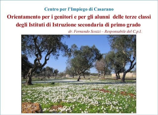 Centro per l'Impiego di CasaranoOrientamento per i genitori e per gli alunni delle terze classi   degli Istituti di Istruz...
