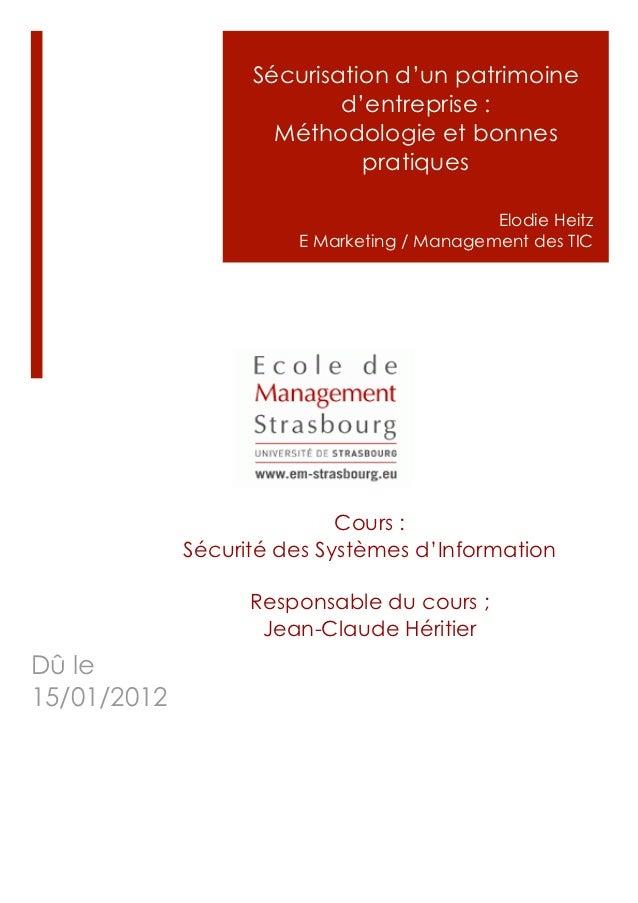Sécurisation d'un patrimoine                           d'entreprise :                     Méthodologie et bonnes          ...