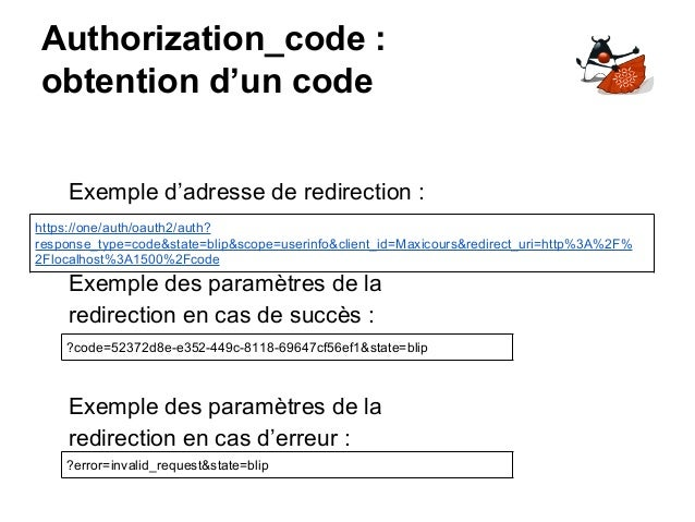 Authorization_code : obtention d'un code https://one/auth/oauth2/auth? response_type=code&state=blip&scope=userinfo&client...