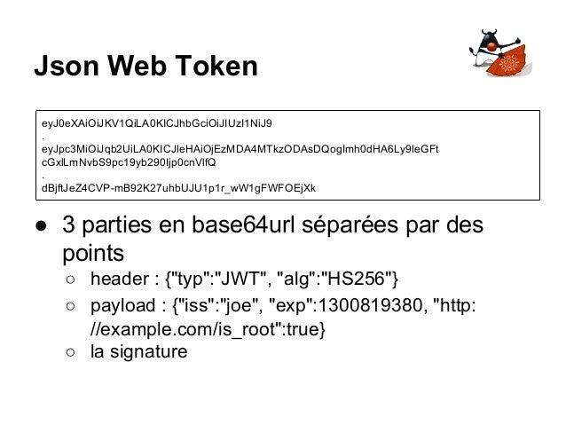 """Json Web Token ● 3 parties en base64url séparées par des points ○ header : {""""typ"""":""""JWT"""", """"alg"""":""""HS256""""} ○ payload : {""""iss""""..."""
