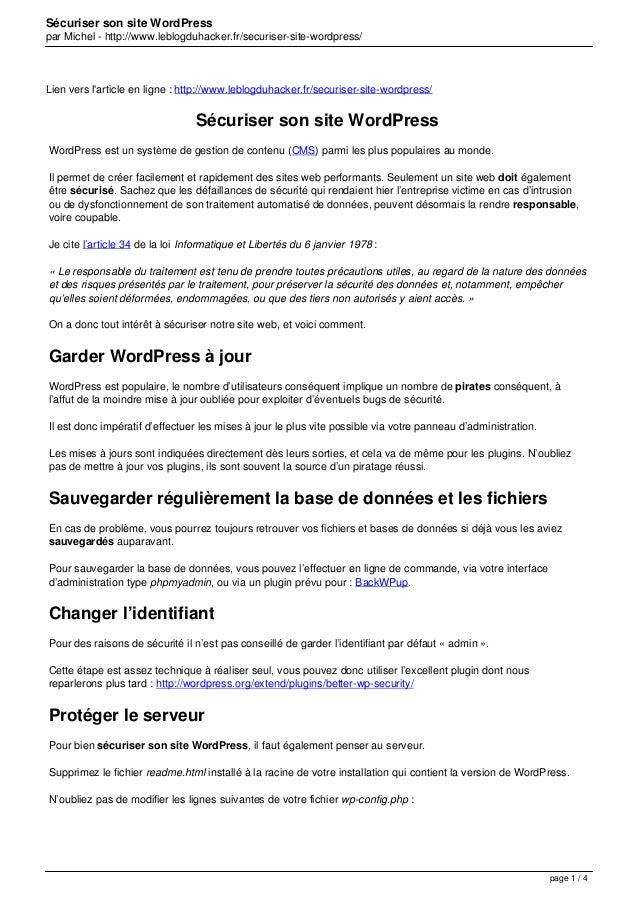 Sécuriser son site WordPress par Michel - http://www.leblogduhacker.fr/securiser-site-wordpress/ Lien vers l'article en li...