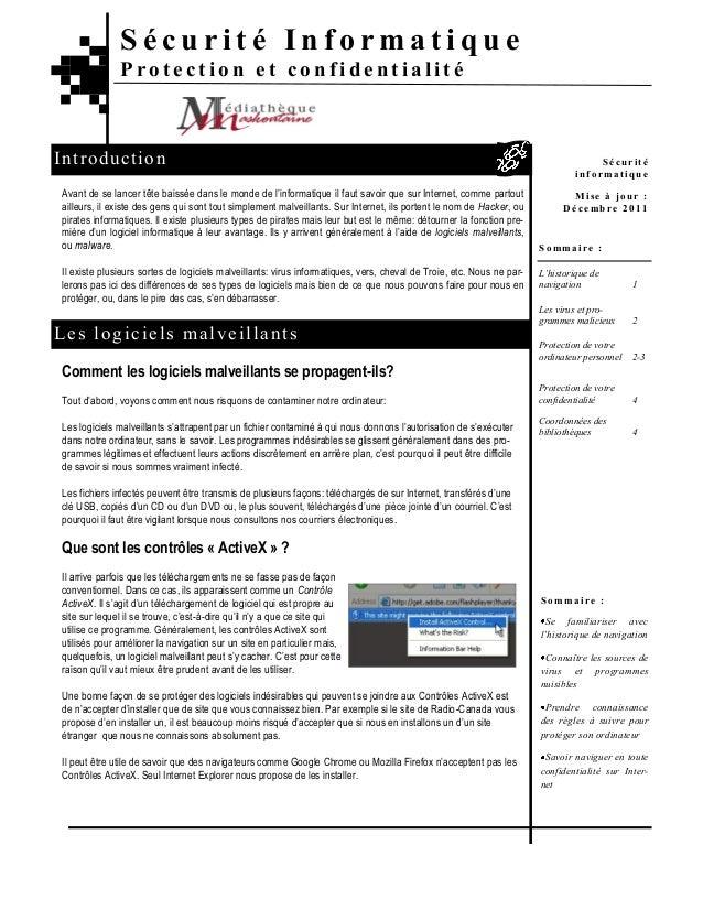 Sécurité Informatique               Protection et confidentialitéIn t ro d u ctio n                                       ...