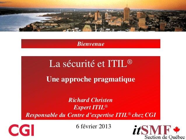 Sécurité et ITIL: une approche pragmatique