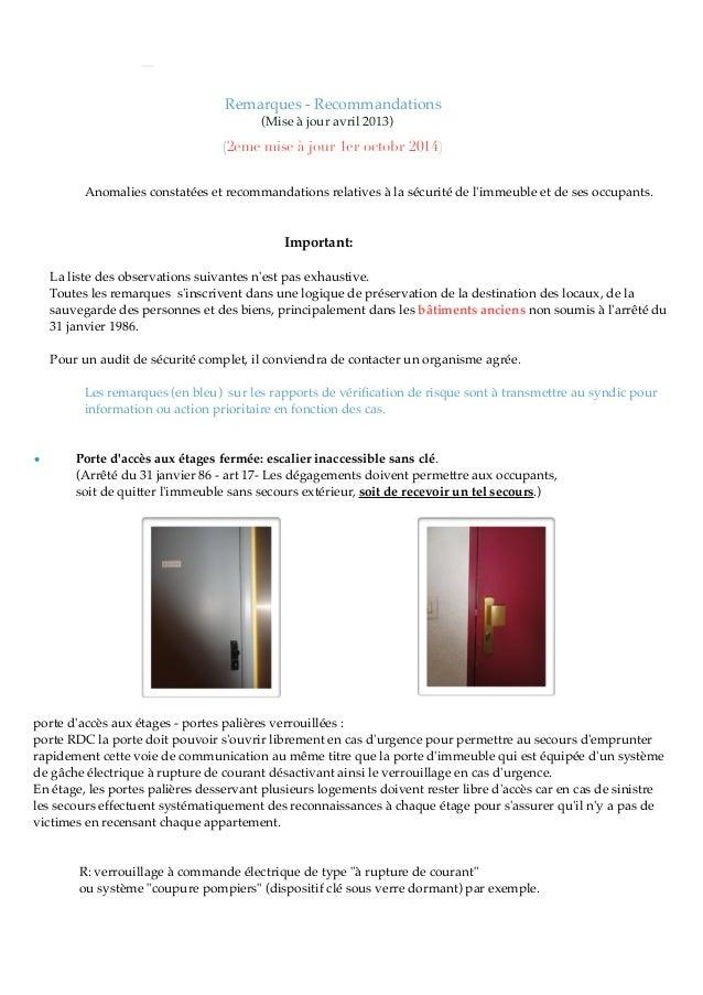 Remarques - Recommandations (Mise à jour avril 2013) (2eme mise à jour 1er octobr 2014) Anomalies constatées et recommanda...