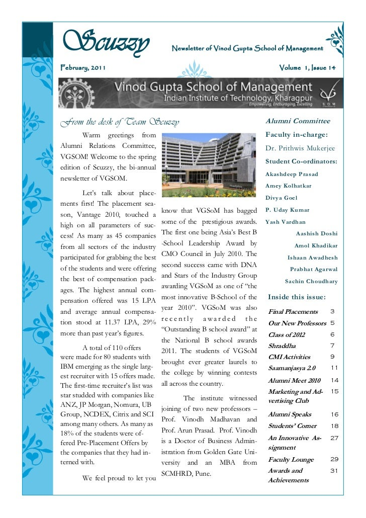 Scuzzy                                 Newsletter of Vinod Gupta School of ManagementFebruary, 2011                       ...