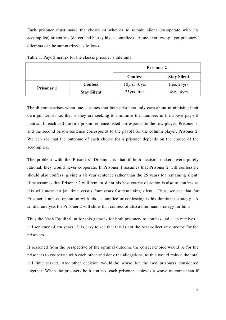 prisoners dilemma essay (eds), essays in game theory and mathematical economics in honor of oscar   r axelrodthe evolution of strategies in the iterated prisoner's dilemma.