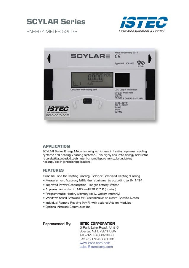 SCYLAR Series ENERGY METER 5202S APPLICATION SCYLAR Series Energy Meter is designed for use in heating systems, cooling sy...