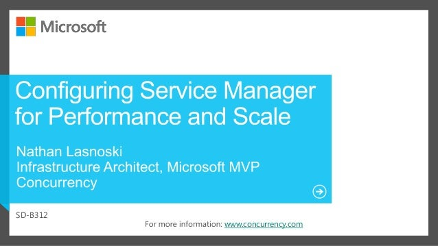 Configuring Service Manager for Performance and Scale - MMS2013 Presentation Slide 2