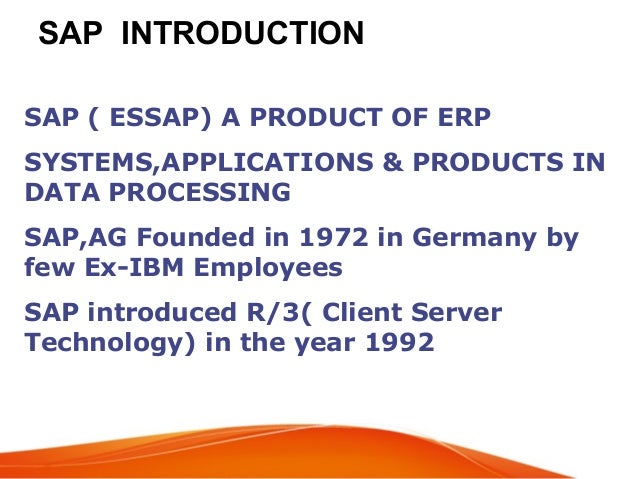Sap erp introduction overview.