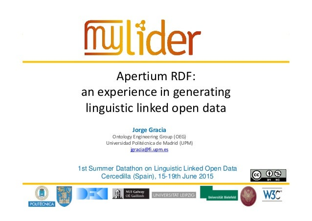 18/05/2016 1Presenter name Apertium RDF:  an experience in generating  linguistic linked open data  Jorge Gracia Ontology ...