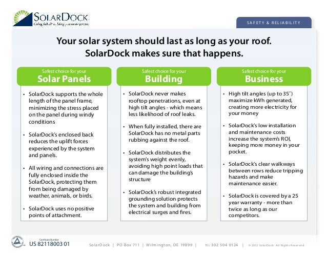 SAFETY & RELIABILITY              Your solar system should last as long as your roof.                    SolarDock makes s...