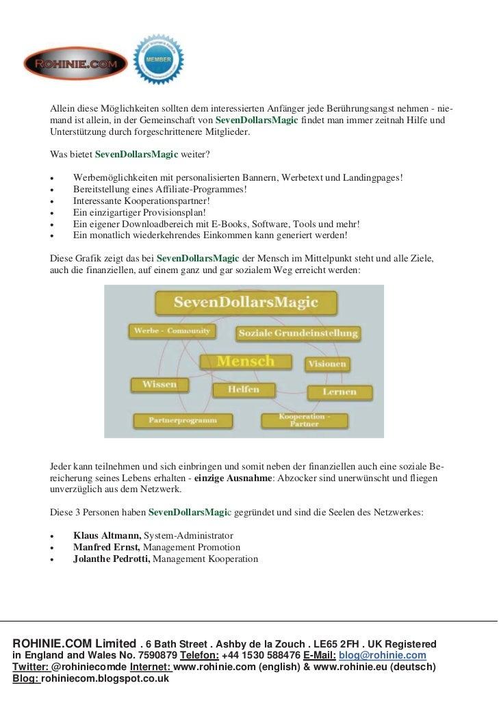 ROHINIE.COM: SevenDollarsMagic - das besondere Netzwerk Slide 3