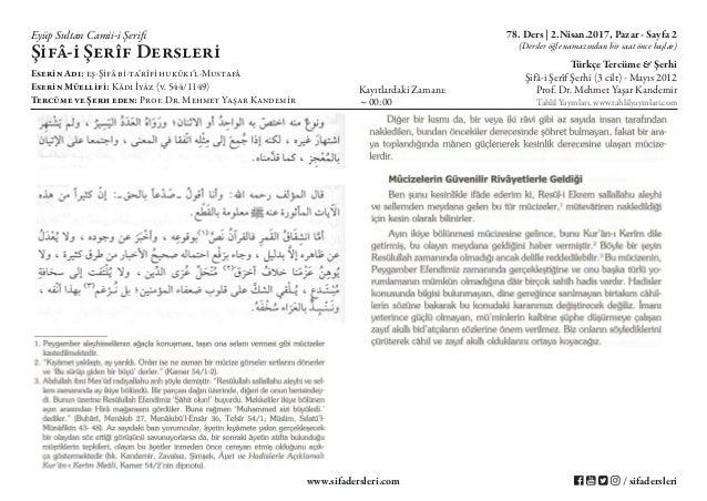 Şifa-i Şerif - 78.Ders - Resûl-i Ekrem'in Mûcizeleri ve Mûcizenin Mânası - 2.Nisan.2017 Slide 2
