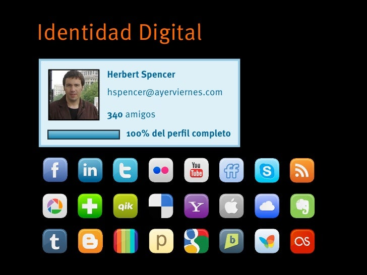 Identidad Digital       Herbert Spencer       hspencer@ayerviernes.com       340 amigos           100% del perfil completo