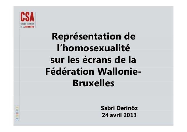 Représentation deReprésentation de l'homosexualitél homosexualité sur les écrans de la Fédération Wallonie- B llBruxelles ...