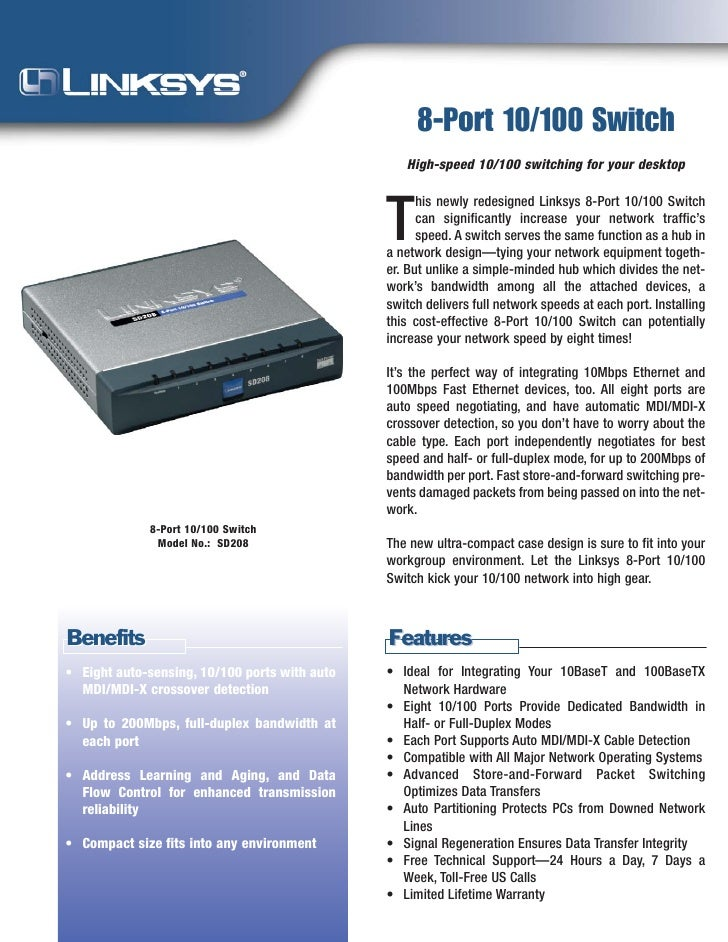 8-Port 10/100 Switch                                                   High-speed 10/100 switching for your desktop       ...