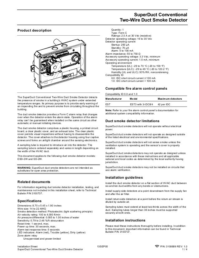 edwards signaling sd2w installation manual installation sheet 13sep05 p n 3100689 rev 1 0 superduct conventional two wire