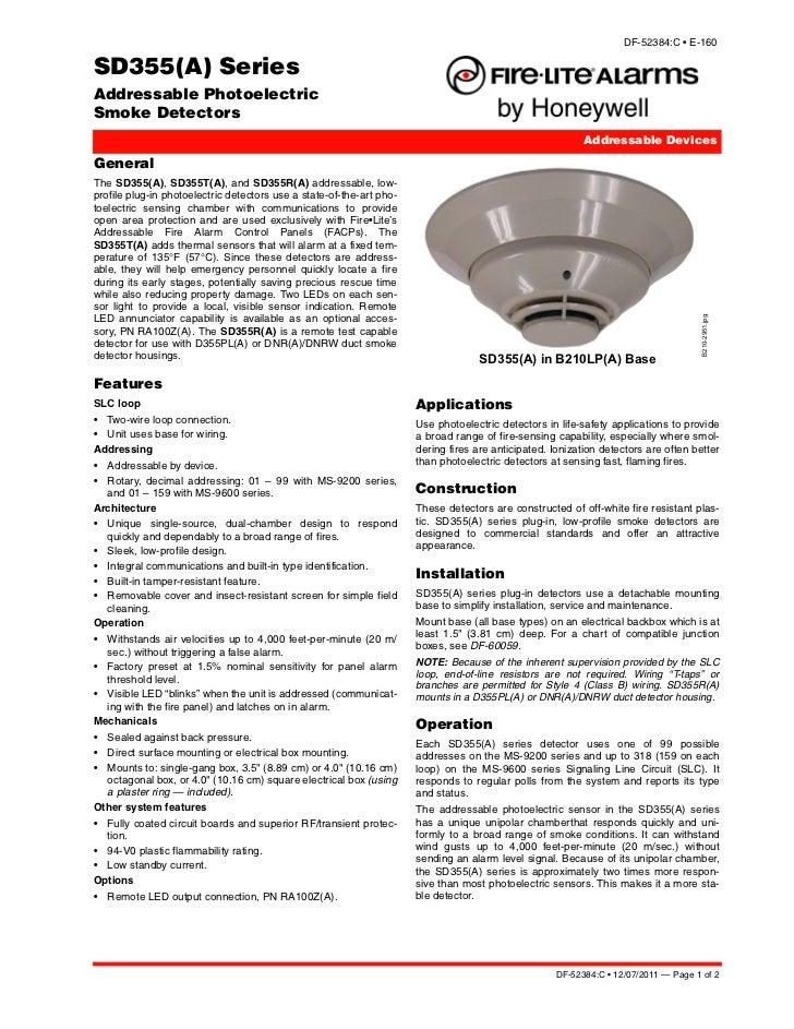 sd355 rh slideshare net Addressable Smoke Detector Fire Lite SD355