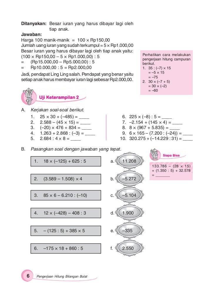 Kunci Jawaban Gemar Matematika Kelas 6