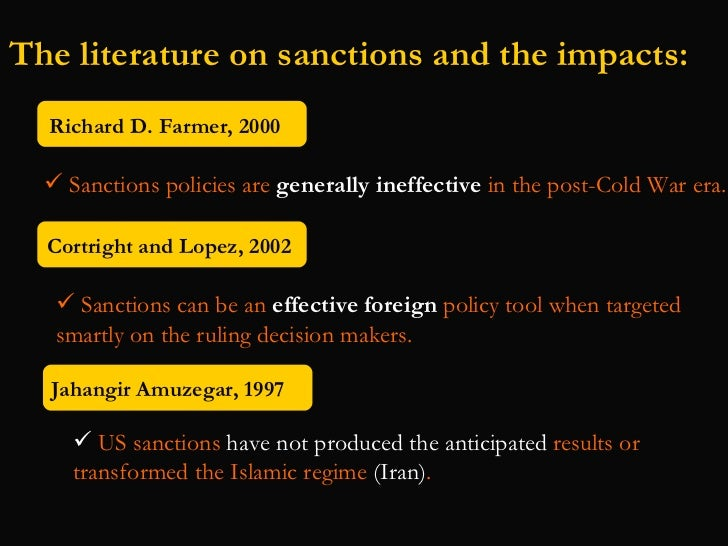 the importance of economic sanctions Sanctions sometimes smart: targeted sanctions in theory and practice  ''economic sanctions may well have been a necessary cause of the deaths of more.