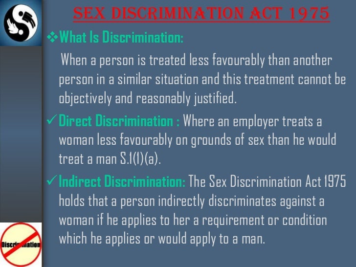 Summary of the sex discrimination act 1975
