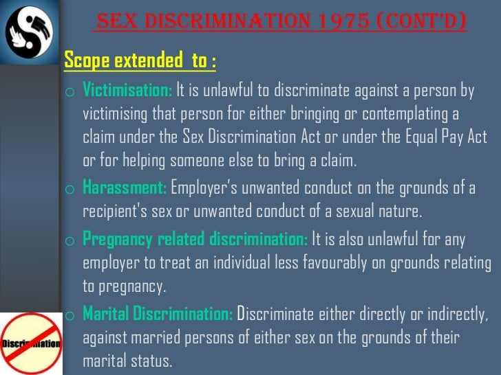 The sex discrimination acts 1975 and 1986