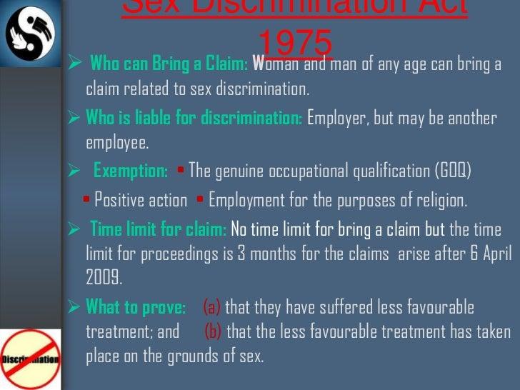 Sex discrimination act 1975 amendment regulations 2003