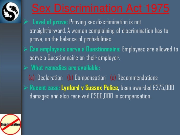 Sex discrimination act summary