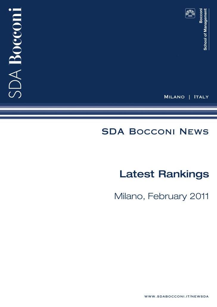 Milano   ItalySDA Bocconi News  Latest Rankings Milano, February 2011       www.sdabocconi.it/newsda