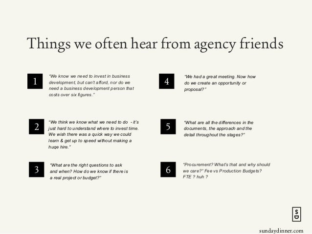 """sundaydinner.com Things we often hear from agency friends """"We know we need to invest in business development, but can't af..."""