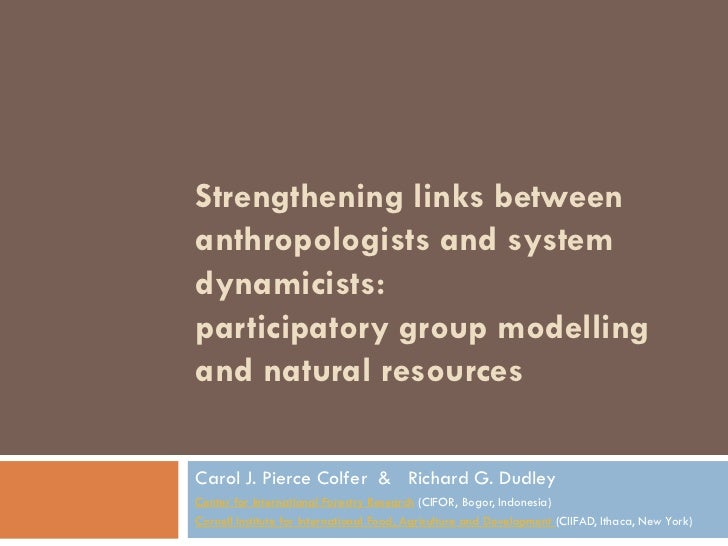 Strengthening links betweenanthropologists and systemdynamicists:participatory group modellingand natural resourcesCarol J...