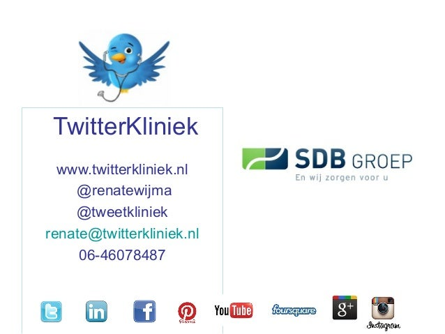 TwitterKliniek www.twitterkliniek.nl @renatewijma @tweetkliniek renate@twitterkliniek.nl 06-46078487