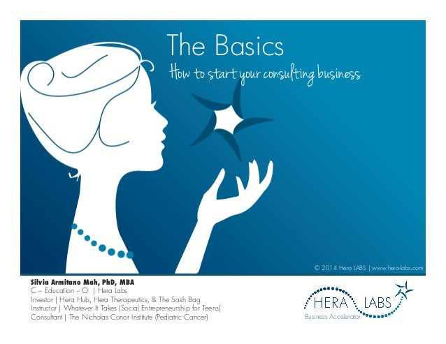The Basics How to start your consulting business © 2014 Hera LABS | www.hera-labs.com Business Accelerator Silvia Armitano...