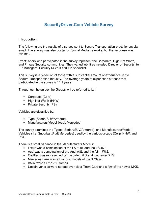 SecurityDriver.Com Vehicle Survey  Introduction The following are the results of a survey sent to Secure Transportation pr...