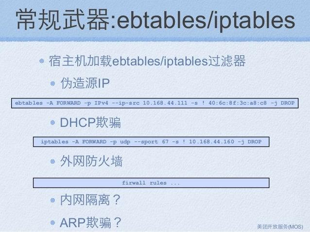 常规武器:ebtables/iptables 宿主机加载ebtables/iptables过滤器 伪造源IP DHCP欺骗 外网防火墙 内网隔离? ARP欺骗? ebtables -A FORWARD -p IPv4 --ip-src 10.1...
