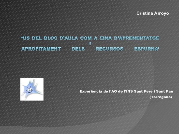 Experiència de l'AO de l'INS Sant Pere i Sant Pau (Tarragona)  Cristina Arroyo