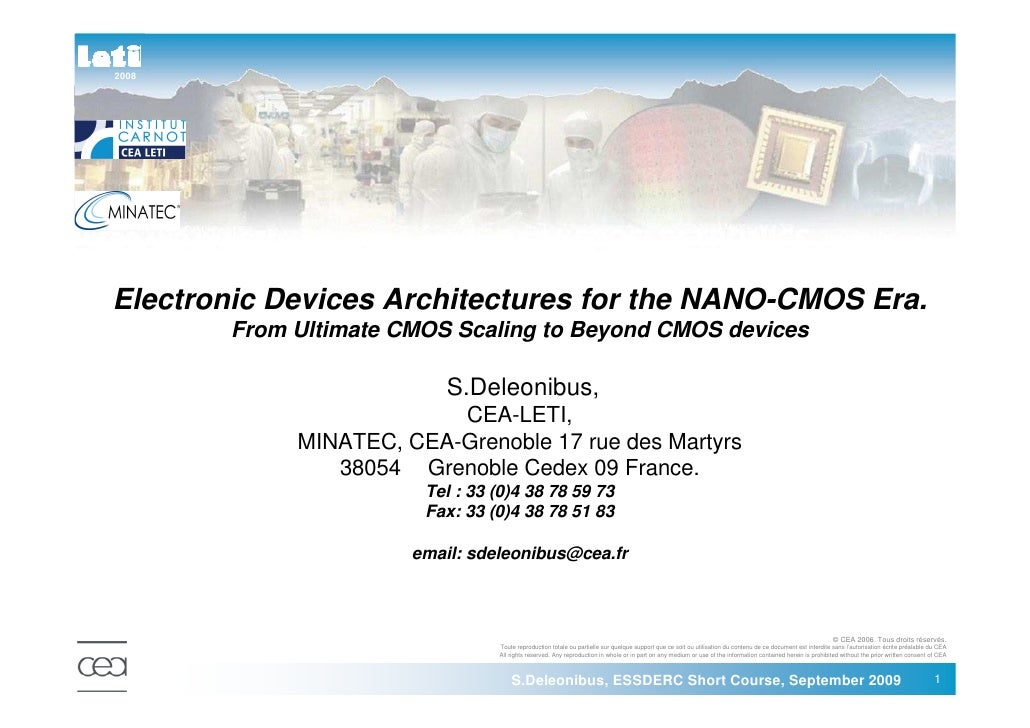 2008     Electronic Devices Architectures for the NANO-CMOS Era.         From Ultimate CMOS Scaling to Beyond CMOS devices...