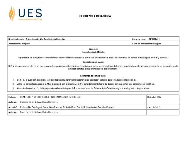 SECUENCIA DIDÁCTICANombre de curso: Estructura del Alto Rendimiento Deportivo                                             ...