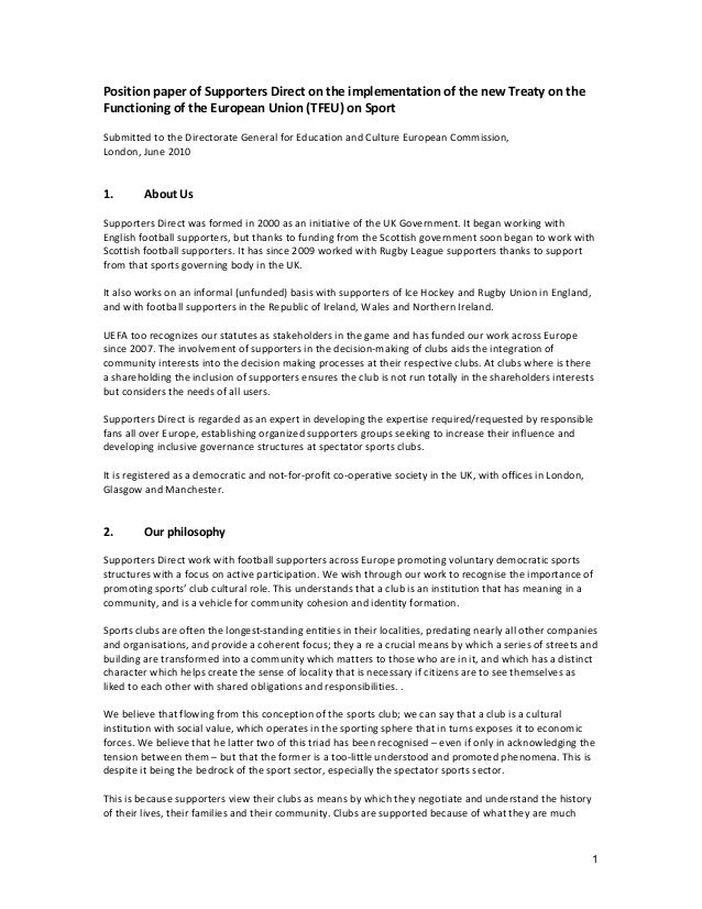 1 Position paper of Supporters Direct on the implementation of the new Treaty on the Functioning of the European Union (TF...