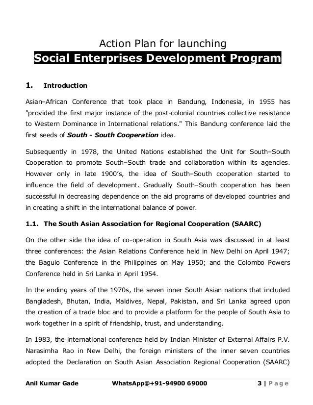 Template Social Enterprise Development Action Plan In Saarc Countri