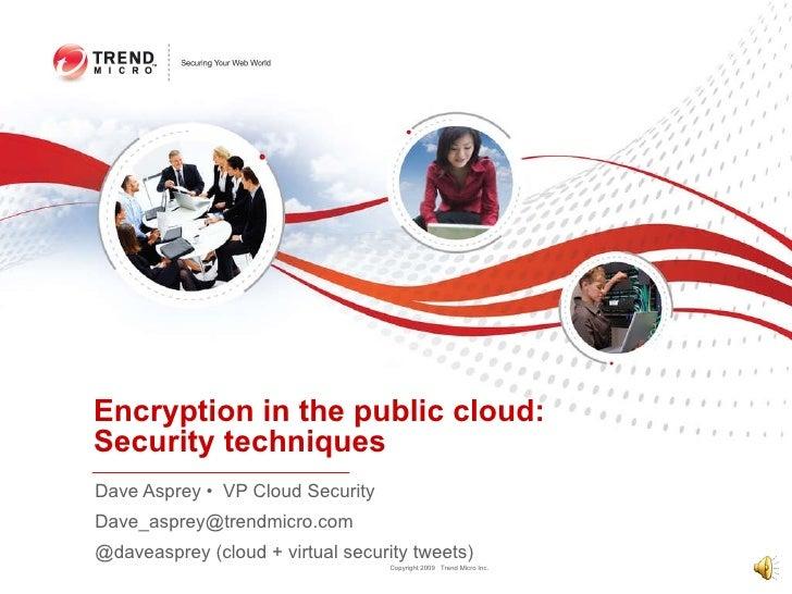 Encryption in the public cloud:  Security techniques Dave Asprey •  VP Cloud Security [email_address] @daveasprey (cloud +...