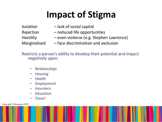 Stigmatisation of people as socially and morally unacceptable