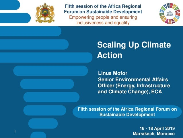 Fifth session of the Africa Regional Forum on Sustainable Development Scaling Up Climate Action Linus Mofor Senior Environ...