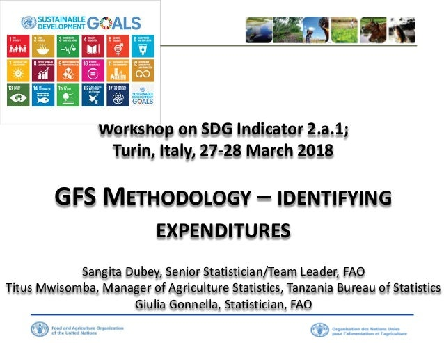 Workshop on SDG Indicator 2.a.1; Turin, Italy, 27-28 March 2018 GFS METHODOLOGY – IDENTIFYING EXPENDITURES Sangita Dubey, ...