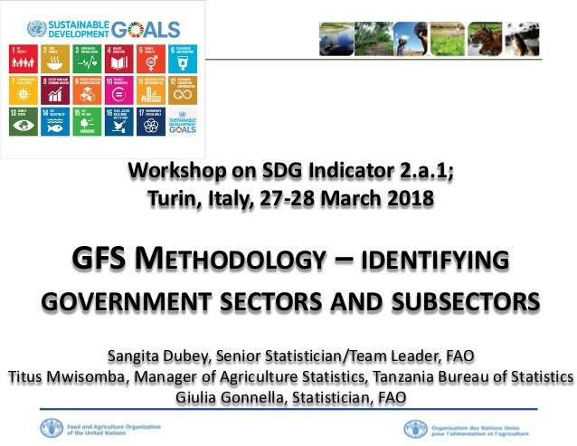 Workshop on SDG Indicator 2.a.1; Turin, Italy, 27-28 March 2018 GFS METHODOLOGY – IDENTIFYING GOVERNMENT SECTORS AND SUBSE...
