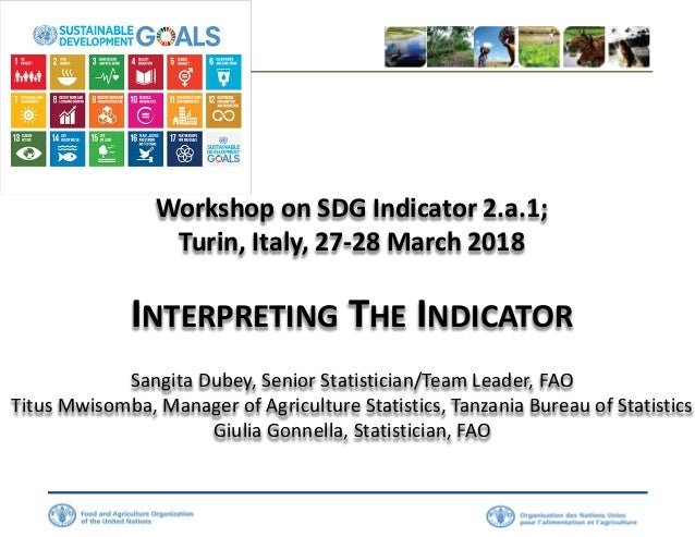 Workshop on SDG Indicator 2.a.1; Turin, Italy, 27-28 March 2018 INTERPRETING THE INDICATOR Sangita Dubey, Senior Statistic...