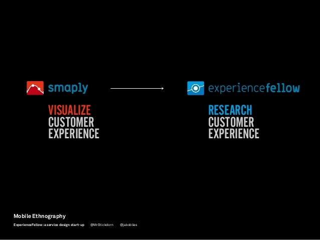 VISUALIZE CUSTOMER EXPERIENCE RESEARCH CUSTOMER EXPERIENCE Mobile Ethnography @jakobliesExperienceFellow:a service design ...