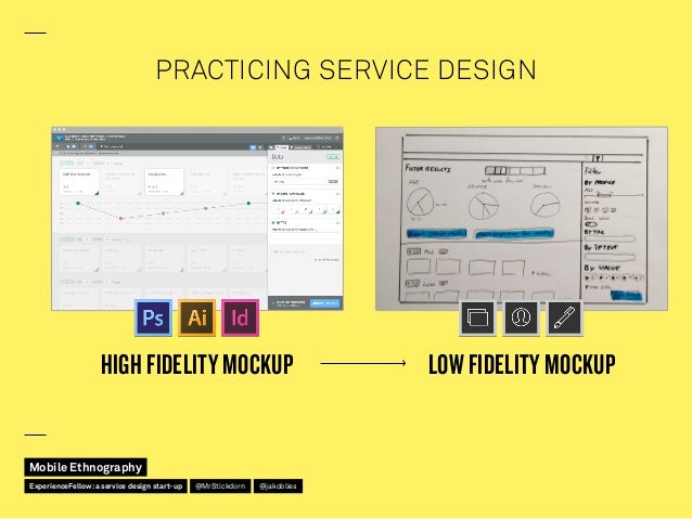 PRACTICING SERVICE DESIGN HIGH FIDELITY MOCKUP LOW FIDELITY MOCKUP Mobile Ethnography @jakobliesExperienceFellow:a service...