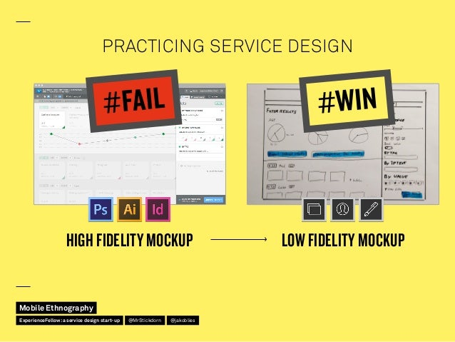 PRACTICING SERVICE DESIGN HIGH FIDELITY MOCKUP LOW FIDELITY MOCKUP #WIN#FAIL Mobile Ethnography @jakobliesExperienceFellow...