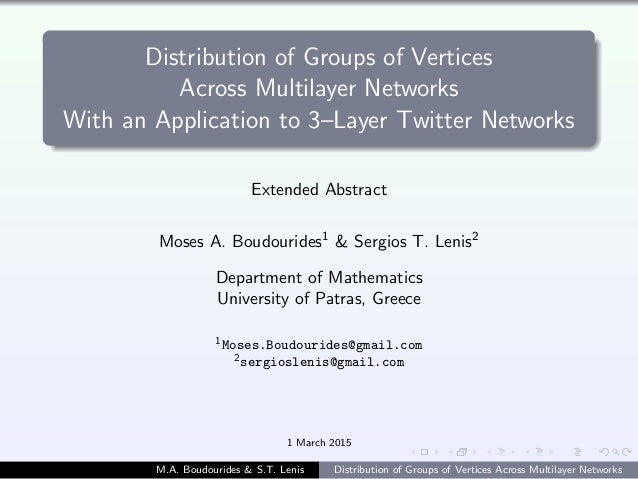 Distribution of Groups of Vertices Across Multilayer Networks With an Application to 3–Layer Twitter Networks Extended Abs...